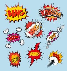 Boom set comic book explosion vector image vector image