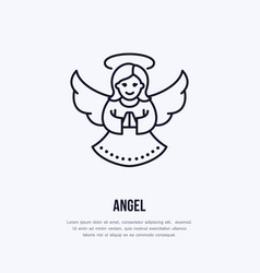 Christmas angel new year decoration flat line vector