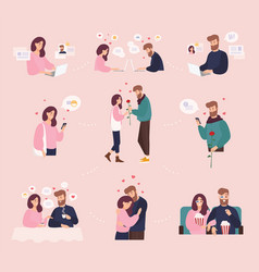 collection of man and woman using website or vector image vector image