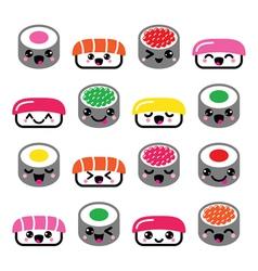 Cute Kawaii sushi - Japanese food icons set vector image
