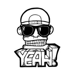 hip hop face vector image