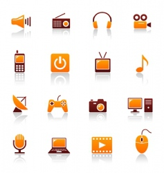 media and telecom icons vector image vector image