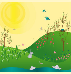 spring green gradient landscape with flowers vector image