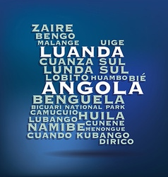 Angola map made with name of cities vector image