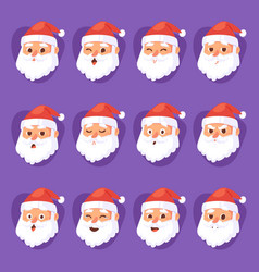 christmas santa claus emotion faces vector image vector image