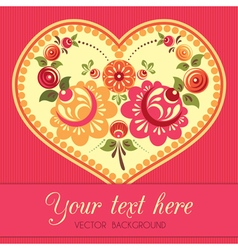 Flower greeting card with heart in folk style vector image vector image