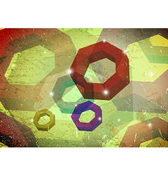 Grungy card with polygon rings vector image
