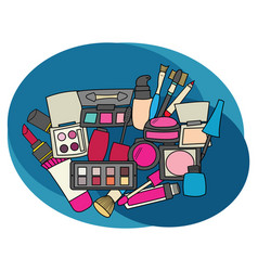 makeup design set cartoon free hand draw doodle vector image vector image