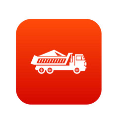 dump track icon digital red vector image vector image