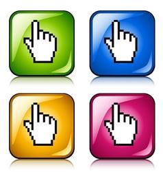 pixel cursor hand buttons vector image vector image