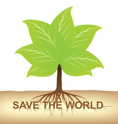 root of tree hold on ground for earth vector image