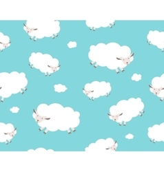 Seamless pattern white sheep and cloud on the vector