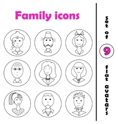 Set of line family icons in round frame vector image