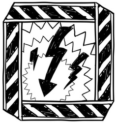 doodle danger electric shock vector image
