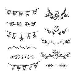 set of hand-drawn black handle elements set of vector image