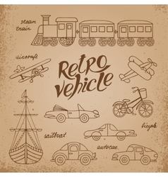 The set of images transport in retro style vector image