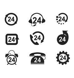 24 Hours Icons set vector image vector image
