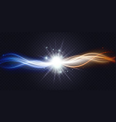 abstract shiny orange blue color waves connect and vector image