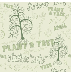 Arbor Day Hand Drawn Seamless Floral Pattern vector image