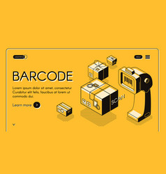 Barcode scanning service website template vector