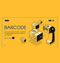 barcode scanning service website template vector image