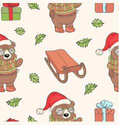 bear santa sled new year seamless pattern i vector image