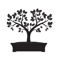 Black bonsai tree vector