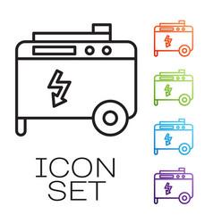 Black line portable power electric generator icon vector