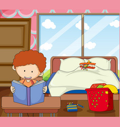 boy study in the bedroom vector image