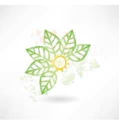 Brush icon with green leafs around vector