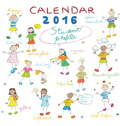 calendar 2016 kids cover vector image