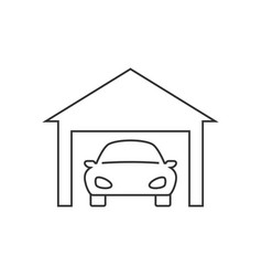 car in garage line icon on white background vector image
