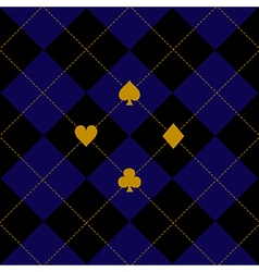 Card suits black royal blue diamond background vector