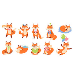 cartoon fox mascot funny animal character cute vector image