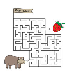 cartoon hippo maze game vector image