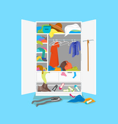 cartoon untidy wardrobe card poster on a blue vector image