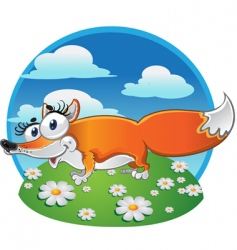 cheerful fox on the background vector image