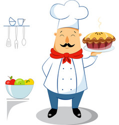 chef with apple pie vector image