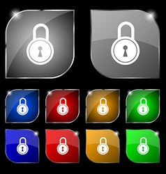 Closed lock icon sign Set of ten colorful buttons vector