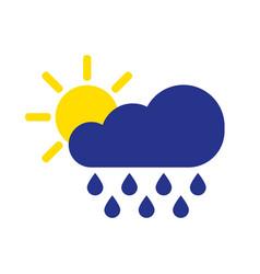 cloud rain with sun symbol rain icon in flat vector image