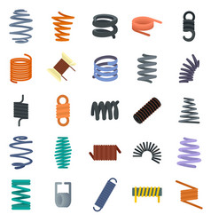 coil spring cable icons set flat style vector image
