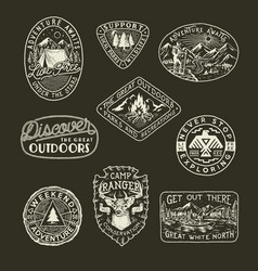 Collection of outdoor emblems vector