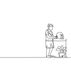 continuous one line drawing a boy washes his vector image
