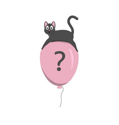 cute cat flying on a balloon vector image