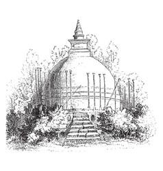 Dagoba sri lanka vintage engraving vector
