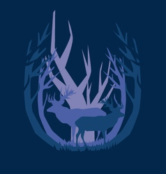 Deep in the forest deer vector