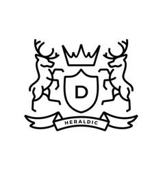 deer coat arms heraldic logo icon vector image