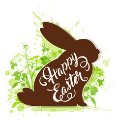 easter rabbit on a green background vector image