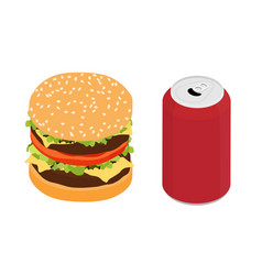 fast food double burger and drink isometric view vector image