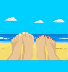 Female and male feet on tropical beach vector